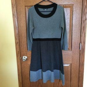 Tommy Hilfiger gray/black knit sweater dress L